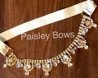 Gold princess dangle headband