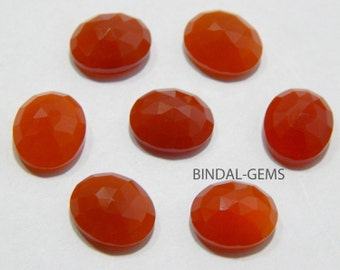 Wholesale Lot 5 Pcs Red Onyx Oval Shape Rose Cut Gemstone For Jewelry