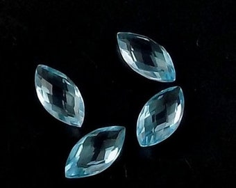 10 Pieces Lot Sky Blue Topaz Marquise Shape Checker Cut Loose Gemstone