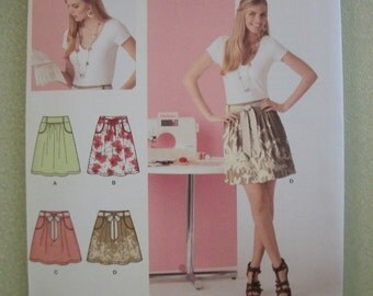 Simplicity 2226 Misses Size A 6/8/10/12/14/16/18 skirt in 2 lengths and tie belt.  Learn to Sew Basics