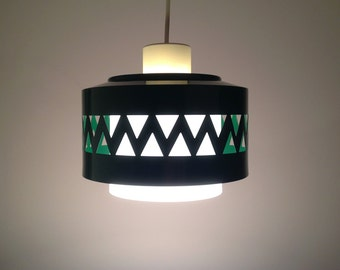 Green Midcentury Lamp With Geometric Ornament / Sweden 60s 70s