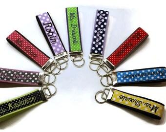 Custom polka dots key fob, custom key chain, custom keychain, personalized key chain, personalized gift idea, polka dots key chain