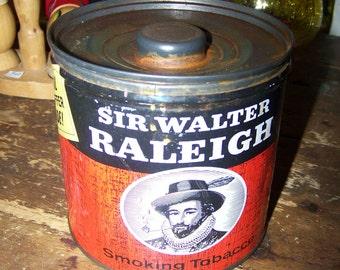 Vintage Collectible Advertising SIR WALTER RALEIGH Tobacco Tin Can