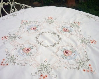 Circular Tablecloth Machine Embroidered 1980,s
