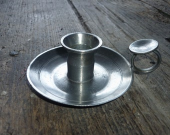 French Pewter candlestick, candle holder candlestick