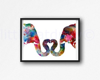 Elephant Print Love Elephants I Heart You Elephants Watercolor Painting Print Wall Art Watercolor Wall Decor Nursery Decor