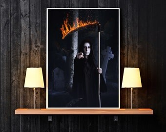 Grimm Reaper art, Grimm Reaper print, Reaper decor, Reaper picture, Reaper poster, Halloween art, Halloween print, Halloween decor, Gothic