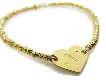 Initial bracelet. Heart gold bracelet. Gold bracelet. Beaded letter bracelet. Personalized bracelet. Gold plated brass bracelet.  Gift ideas