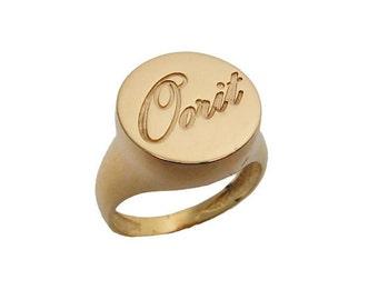 Name ring. Gold name ring. Unisex ring. Men ring. Signet ring. Name gold ring. Signet name ring. Unisex name ring. Unisex gold ring. Gifts
