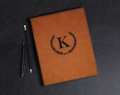 Large Rawhide Leatherette Personalized Portfolio, Corporate Office Gift, Custom Engraved Gift