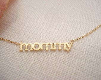"""Tiny """"mommy"""" necklace..Simple, Minimalist, handmade jewelry, everyday, bridesmaid gift, mother, mom birthday gift"""
