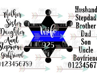 Thin Blue Line 6 Point Deputy Star with Family members