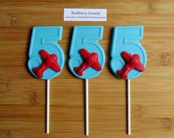 """Number FIVE """"AIRPLANE"""" Chocolate Pops (12) - (1-9 Available!) AIRPLANE Birthday/Plane Favors"""