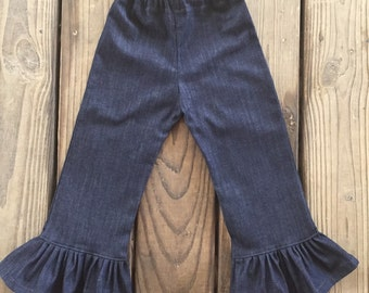Denim Ruffle Pants