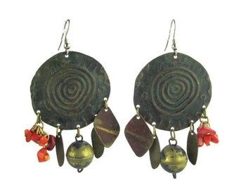 Vintage Coral & Brass Charms Repousse Concentric Circles Oxydized Brass Earrings