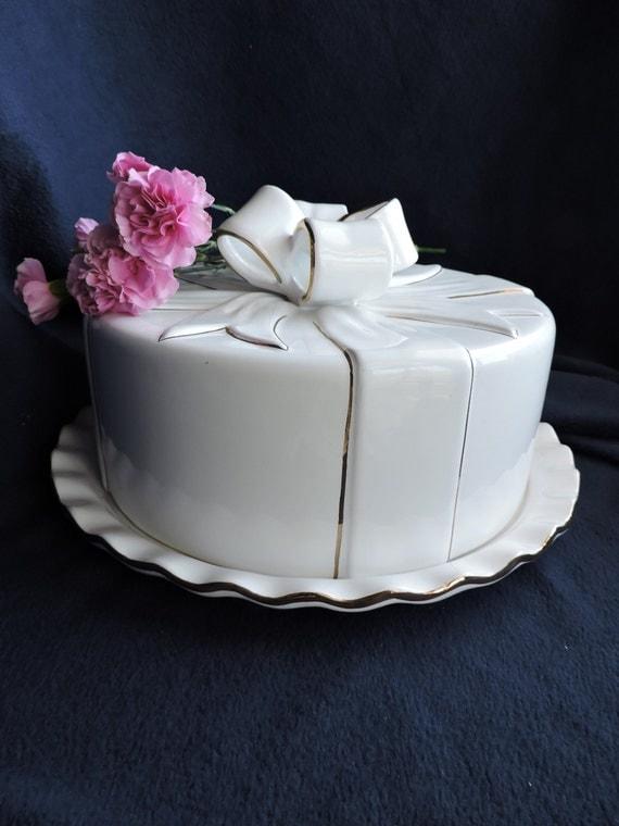 White Ceramic Cake Dome With Bow Vintage Cake Server Made