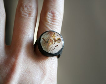 Terrarium Ring, Herbarium Jewelry, Real Flower Jewellery, Artisan Ring, Glass Ring, One of a Kind