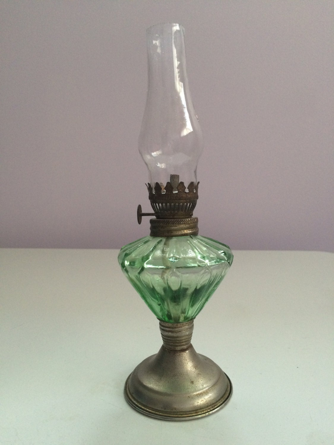 vintage oil lamp green glass with metal base clear glass lamp. Black Bedroom Furniture Sets. Home Design Ideas