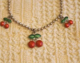 Vintage Claire's Silver Tone Cherries Bracelet
