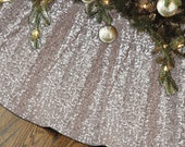 """SALE Sequin Tree Skirt Champagne Sequin Tree skirt 48"""" Christmas Tree Skirt Unique Sparkly Glittery Holiday embroidery Sequin Blush Gold"""
