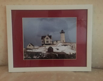 8x10 Matted and Framed Photo of the Famous Nubble Lighthouse in a Winter Setting