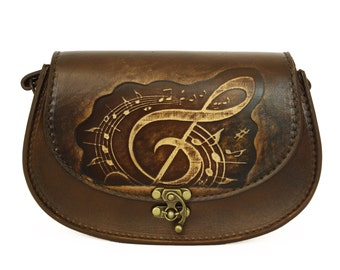 Vintage Handmade Genuine Brown Leather Handbag with a Embossed Sol Music Note Decoration