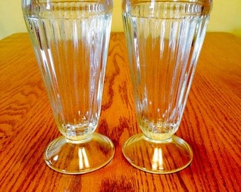 Vintage Milkshake Glasses, Set of 2