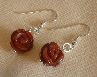 Red Jasper Rose Earrings