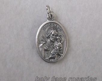 St. Joseph & The Child Jesus and  St Frere Andre Bessette Reversible Religious Catholic Patron Saint Medal Charm Silver Oxidized Pendant