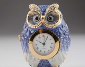 Blue Owl with Clock Faberge Styled Trinket Box Handmade Decorated with Swarovski Crystals