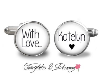 With Love - Mens Cuff Links- Personalized Cufflinks- Fathers Day- Birthday - Gifts for Him - UK