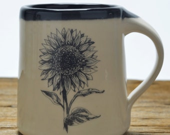 Handmade Pottery mug with sunflower design