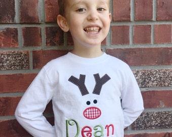 Custom Boys Christmas Reindeer Shirt Personalized, Boys Reindeer Shirt, Christmas Presents - Christmas Shirt - tee, shirt embroidered