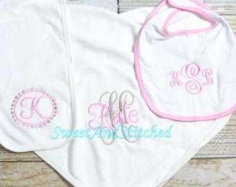 Monogrammed baby girl gift set layette, monogram burp cloth, blanket, bib, Baby girl take home,  Personalized Baby girl Set