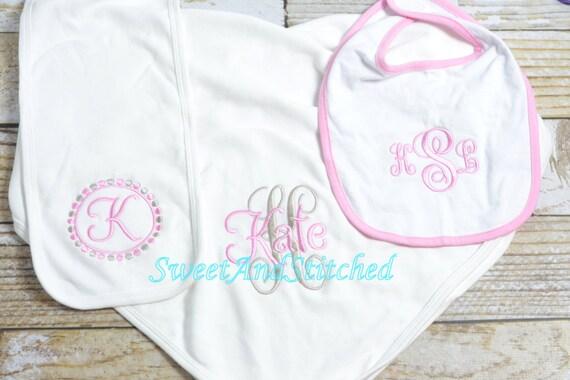 Monogrammed baby girl gift set layette, monogram burp cloth, blanket, bib, Baby girl take home,  Personalized Baby girl Set