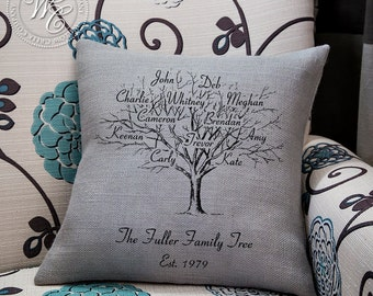 Family Tree Pillow, Personalized Family Tree, Burlap Pillow Cover, Perfect for Anniversary, Housewarming, Birthday Gift