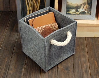 Felt Storage Box Felt Container Basket Storage Bin Storage Basket Bag Organizing Bag with Cord Handle E1217
