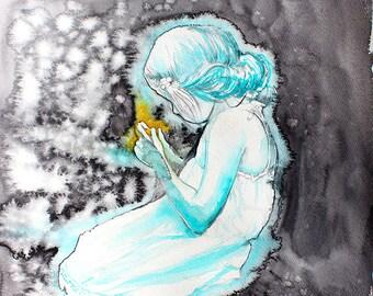 Original Watercolor Painting. Portrait of young girl . Fireflies.