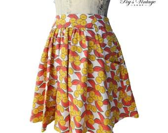 Vintage Fruit Print Skirt, Watermelons, Lemons, Novelty Print Skater Skirt, Grunge Girl Summer Vero Moda Fashion Clothing