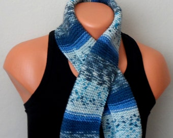 blue gray men knit scarf, winter scarf, chunky men scarf, men knit scarf,multicolor gift for her