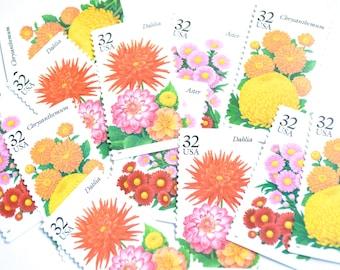 12 Vintage Flower Stamps // Unused Floral Bouquet Wedding Postage // Bright Flower Stamps for Mailing