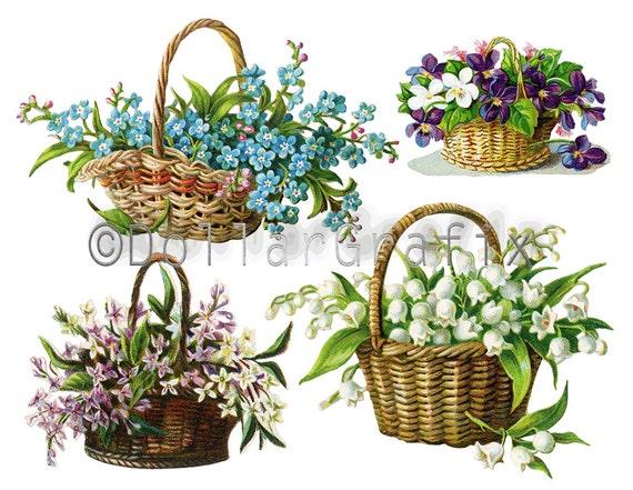 Clipart Flower Baskets : Victorian flower basket floral clip art