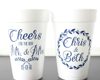 custom foam cups wedding cups wedding favors personalized cups wedding table decor