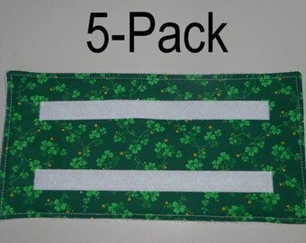 5 Washable & Reusable pads for Swiffer-type Wet Jet mops - GREEN FLORAL PRINT