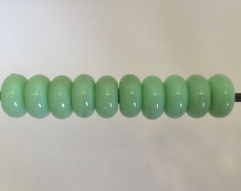 """Light Green """"Sprout"""" Lampwork Glass Bead Spacers"""