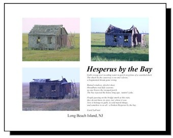 Shack on Long Beach Island LBI, Montage of 3 Pictures and Poem Mounted
