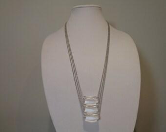 Long Boho Necklace, Clear Pendant Necklace, Long Chain Pendant Necklace, Long Beaded Pendant Necklace, Long Boho Pendant Necklace