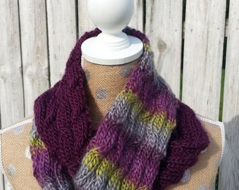 Scarf, Hand Knit Infinity Scarf in Purple, Light Purple and Green