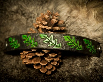 Leather Oak Leaf Bracelet Cuff