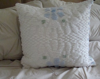 "REDUCED PRICE-White Tufted Chenille Pillow Cover With Blue Flower Design for 20"" Pillow Insert Was 30.00 Now 20.00"
